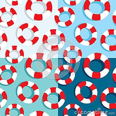 Seamless pattern of life buoys