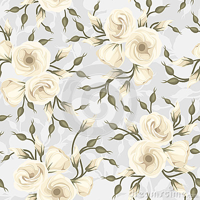 Seamless pattern with lisianthus flowers. Vector.