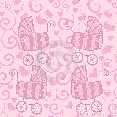 Seamless pattern for little girls