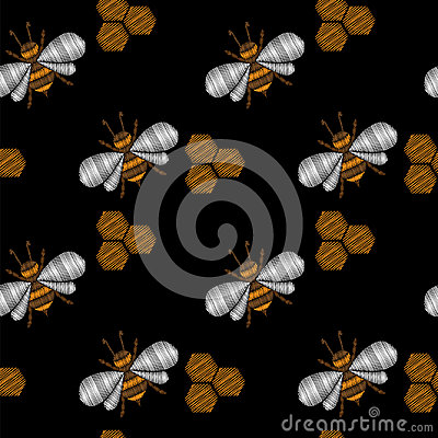 Seamless pattern with little honey bee embroidery stitches Vector Illustration