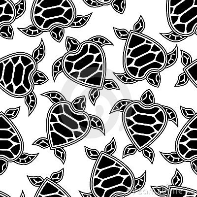 Seamless pattern with little turtles