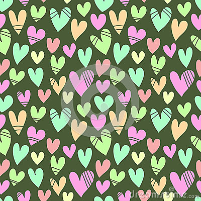Seamless pattern with a lot of hearts on a green b