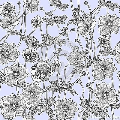 Seamless pattern lovely flower anemone hand drawn Vector Illustration