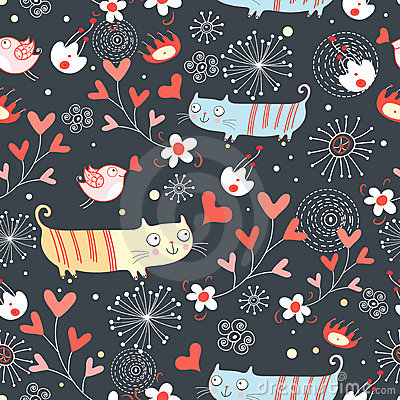 Seamless pattern with lovers cats and birds