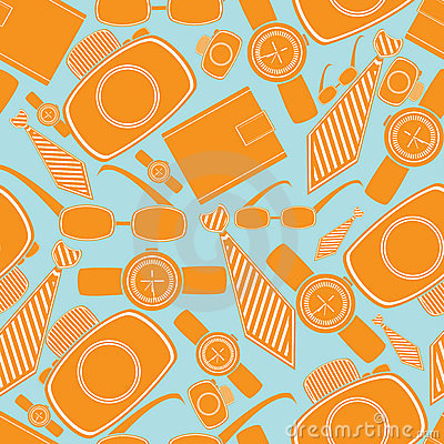 Seamless pattern with man fashion objects