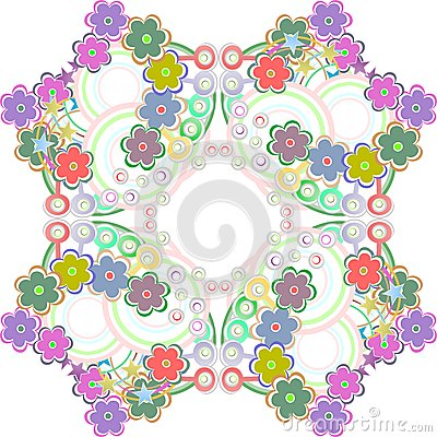 Seamless pattern with many colorful flowers -