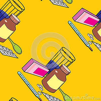 Seamless pattern with medications for colds