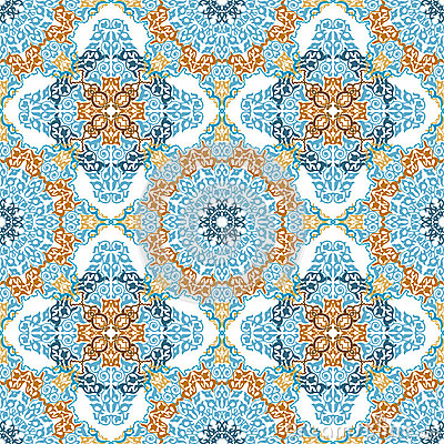 Seamless Pattern In Mosaic Ethnic Style Stock Photography