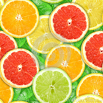 Seamless pattern with motley citrus-fruit slices