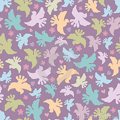 Seamless pattern with multicoloured birds