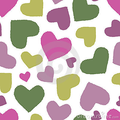 Seamless pattern with multicoloured hearts