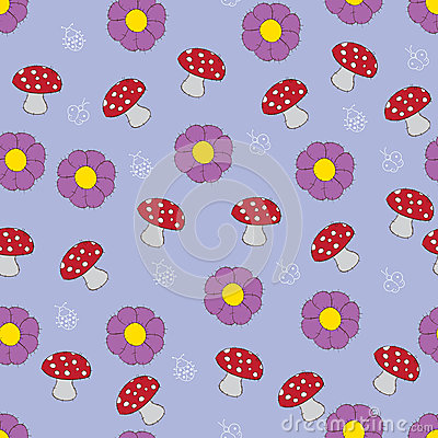 Seamless pattern with mushroom and flowers