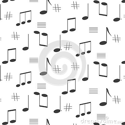 Seamless pattern of music notes Stock Photo