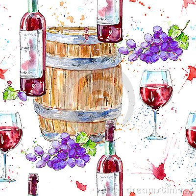Free Seamless Pattern Of A Bottle Of Red Wine, Glasses,wooden Barrel And Grapes. Stock Photos - 111018053