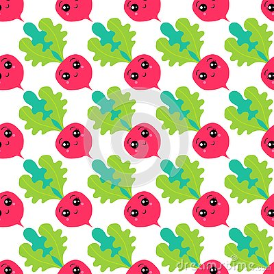 Free Seamless Pattern Of Cheerful Cartoon Radishes In Kawaii Style. Royalty Free Stock Photography - 127431617