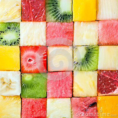 Free Seamless Pattern Of Colorful Fresh Fruit Cubes Royalty Free Stock Image - 39904666