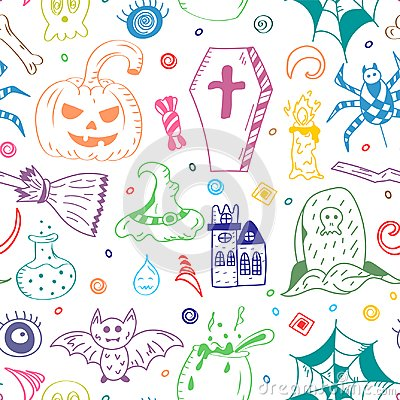 Free Seamless Pattern Of Hand Drawn Halloween Symbols. Colorful Doodle Drawings Of Bat, Pumpkin, Ghost, Spider, Grave. Royalty Free Stock Photos - 102793128