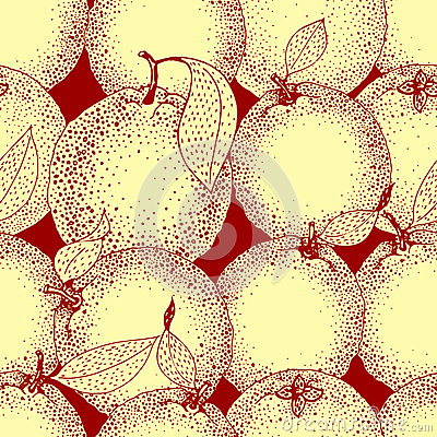 Free Seamless Pattern Of Hand Drawn Oranges And Slices In Sketch Style. Vector Illustration Stock Images - 90207824