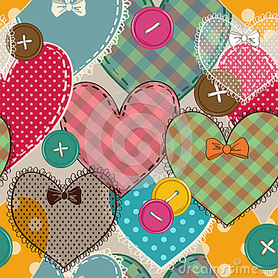 Free Seamless Pattern Of Heart Patchworks And Buttons Stock Photos - 37046883