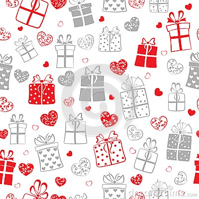 Free Seamless Pattern Of Hearts And Gift Boxes Royalty Free Stock Images - 48785919