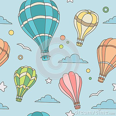 Free Seamless Pattern Of Hot Air Balloons On The Sky Royalty Free Stock Photography - 44698167