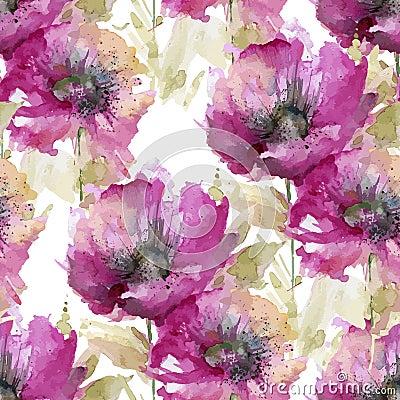 Free Seamless Pattern Of Large Pink Flowers Stock Photo - 64422580