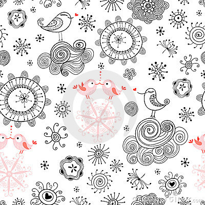 Free Seamless Pattern Of Love Birds And Flowers Stock Images - 17575184