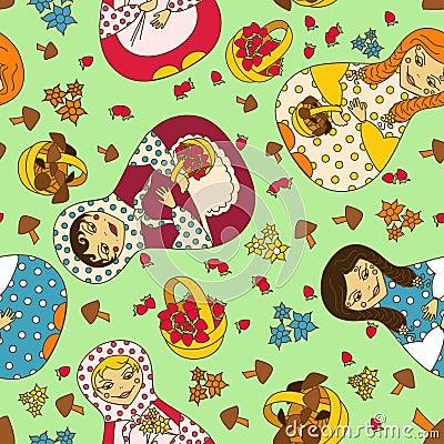 Free Seamless Pattern Of Russian Dolls Matrioshka Royalty Free Stock Photography - 30993017