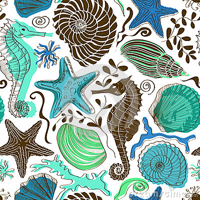 Free Seamless Pattern Of Sea Animals Stock Images - 40318934