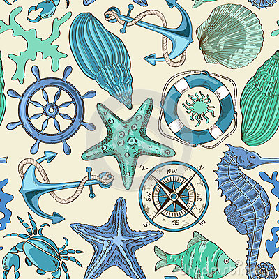 Free Seamless Pattern Of Sea Animals And Nautical Elements Royalty Free Stock Image - 40512606