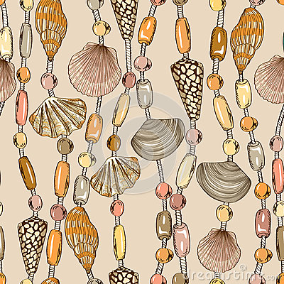Free Seamless Pattern Of Seashell Jewelry Royalty Free Stock Images - 40103049