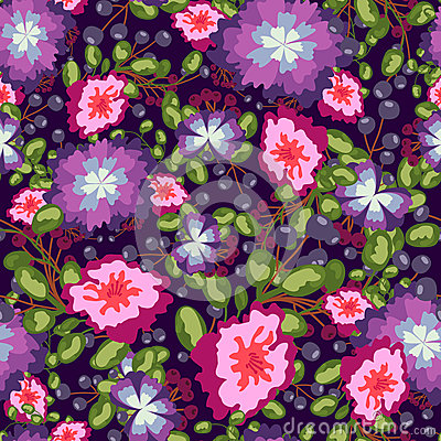 Free Seamless Pattern Of Small Bouquets Pink And Blue Flowers , Violet Berries Green Leaves. Vector Print On  Background. Stock Photography - 78943172