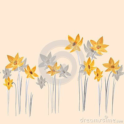 Free Seamless Pattern Of Spring Yellow And Gray Flowers On A Light Beige Background. Watercolor Royalty Free Stock Images - 113200159