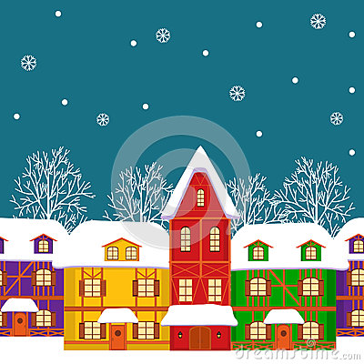Free Seamless, Pattern Of  Street With Colorful Houses In Winter Royalty Free Stock Photo - 57566725