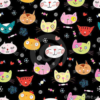 Free Seamless Pattern Of The Cats Royalty Free Stock Photos - 17267088