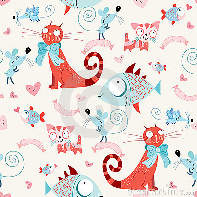 Free Seamless Pattern Of The Cats And Fish With Mice Royalty Free Stock Photo - 15709225