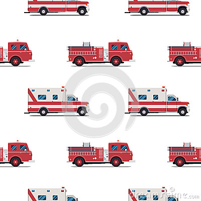 Free Seamless Pattern Of The Fire Engine And Ambulance. Royalty Free Stock Image - 72835636