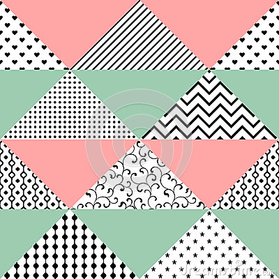 Free Seamless Pattern Of Triangles With Different Textures. The Patte Stock Photo - 93321800