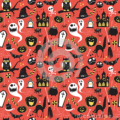 Free Seamless Pattern Of Vintage Happy Halloween Flat Icons. Hallowe Stock Image - 60139961