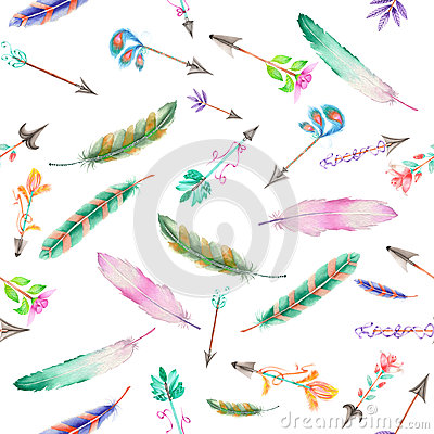 Free Seamless Pattern Of Watercolor Feathers And Romantic Arrows Stock Images - 62378714