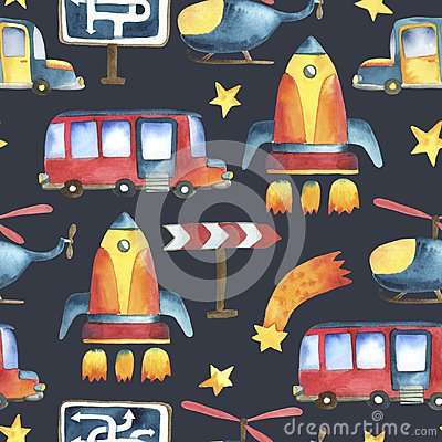 Free Seamless Pattern Of Yellow-blue Car, Red Bus, Rocket, Stars Stock Photo - 118479560