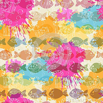 Free Seamless Pattern On The Background Of Colorful Royalty Free Stock Image - 46113906