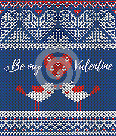 Free Seamless Pattern On The Theme Of Holiday Valentine`s Day With An Image Of The Norwegian And Fairisle Patterns. Heart Royalty Free Stock Photos - 83962548