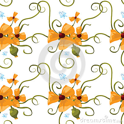 Seamless pattern of orange poppies