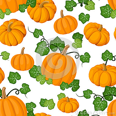 Seamless pattern with orange pumpkins and green le