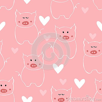 Seamless pattern with outline white pig and heart. Vector Illustration
