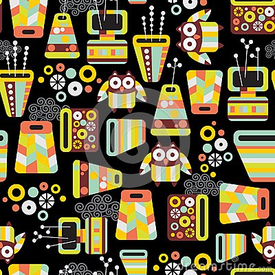 Seamless pattern with owls and vases.