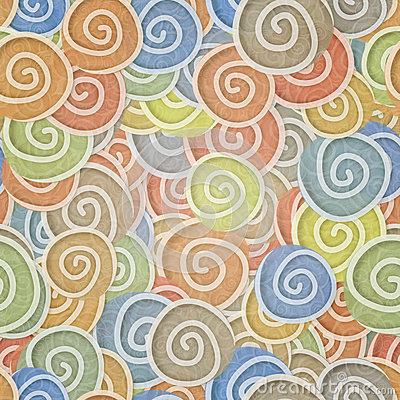Seamless pattern pale colors curles