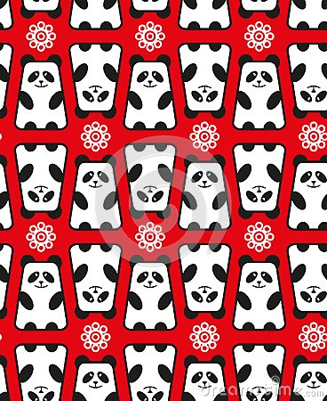 Seamless pattern with panda and flowers.