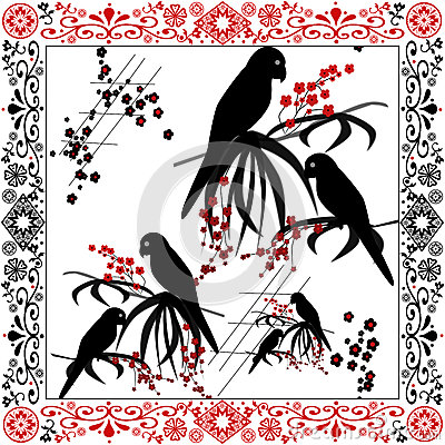 Seamless pattern parrots on white